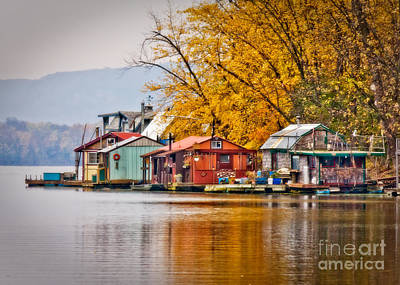 Boathouse Row Digital Art - Autumn At Latsch Island by Kari Yearous