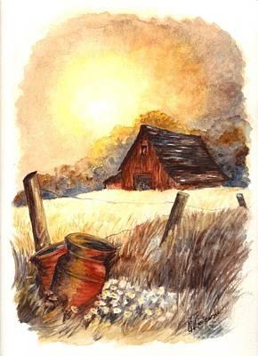 Old Barn Drawing - Autumn On The Farm by Carol Wisniewski