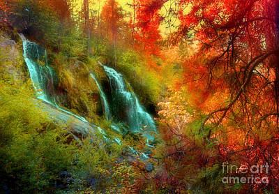 Autumn At Naramata Falls Print by Tara Turner