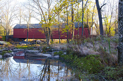Creek Photograph - Autumn At Sheard's Mill Covered Bridge by Bill Cannon