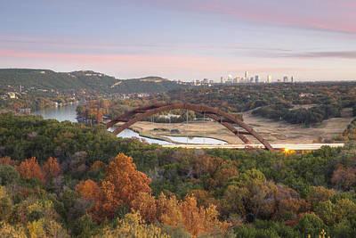 Autumn At The 360 Bridge In Austin Texas Art Print by Rob Greebon