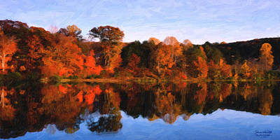 Autumn At The Lake Art Print by Spyder Webb