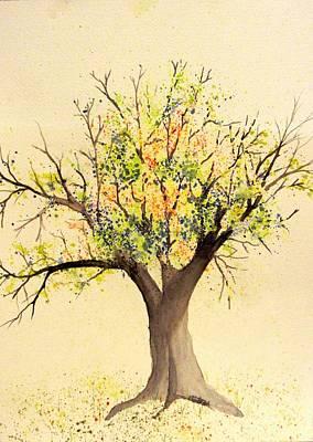 Autumn Backyard Tree Art Print