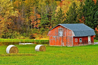 Rocking Chairs Photograph - Autumn Barn And Bales Of Hay by Frozen in Time Fine Art Photography
