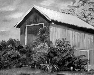 Painting - Autumn Barn - Black And White - Cropped Version by Jan Dappen