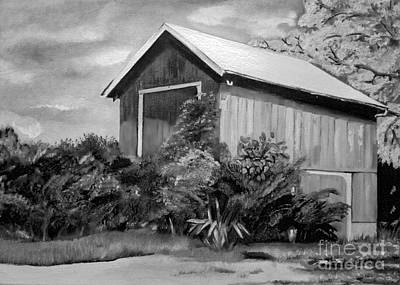 Painting - Autumn Barn - Black And White - Ohio by Jan Dappen