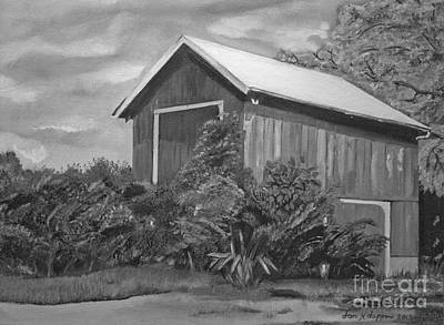 Painting - Autumn Barn -black And White -signed By Artist by Jan Dappen