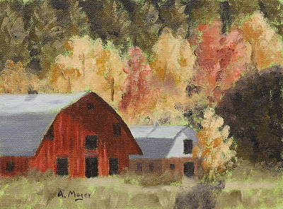 Painting - Autumn Barn Duo by Alan Mager