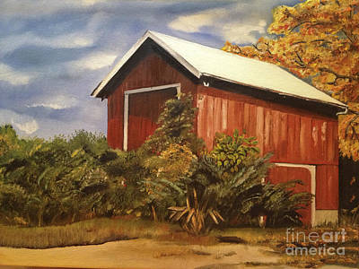 Painting - Autumn - Barn - Ohio by Jan Dappen
