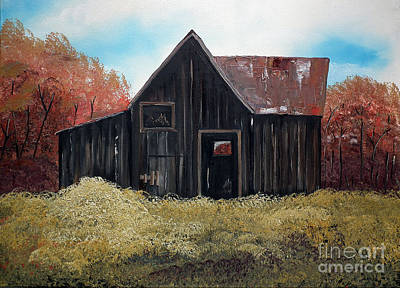 Rustic Barn Painting - Autumn - Barn -orange by Jan Dappen