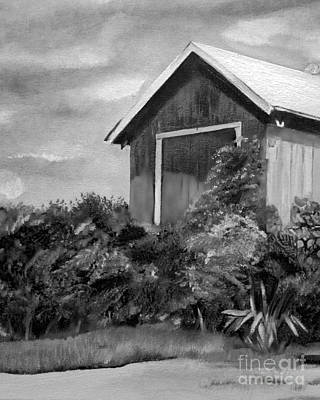 Painting - Autumn Barn - Upclose Cropped - Black And White by Jan Dappen