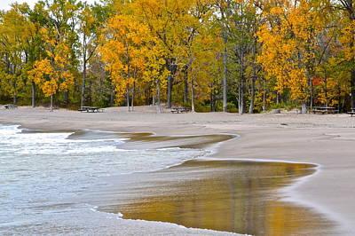 Autumn Beach Art Print by Frozen in Time Fine Art Photography