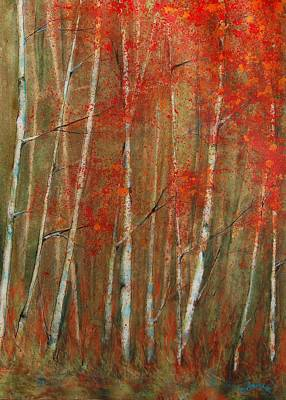 Birch Trees Painting - Autumn Birch by Jani Freimann