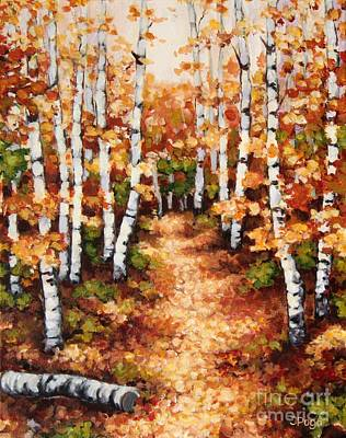 Autumn Birch Trail Art Print