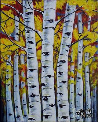 Knotted Tree Painting - Autumn Birch Trees by Teresa Pascos