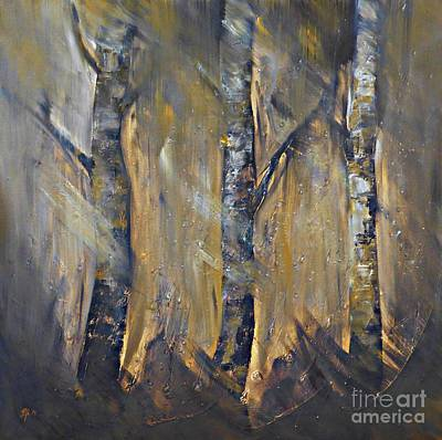 Painting - Autumn Birches by AmaS Art