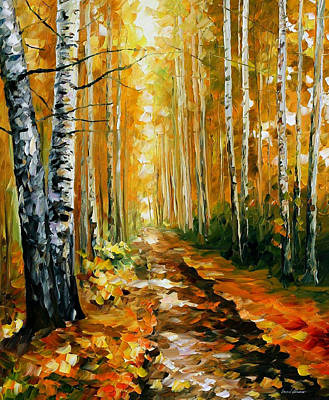 Autumn Birches - Palette Knife Oil Painting On Canvas By Leonid Afremov Original by Leonid Afremov
