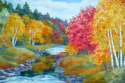 Painting - Autumn Blaze With Birch Trees by Janet  Zeh