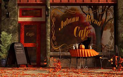 Cafe Art Digital Art - Autumn Blend by Daniel Eskridge
