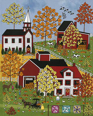 Quilts Painting - Autumn Blessings by Medana Gabbard