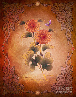 Mums Mixed Media - Autumn Blooming Mum by Bedros Awak