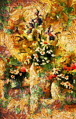 Abstract Flowers Mixed Media - Autumn Bounty - Abstract Expressionism by Georgiana Romanovna