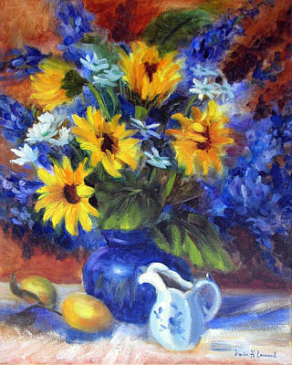 Sunflower Painting - Autumn Bouquet by Karin  Leonard