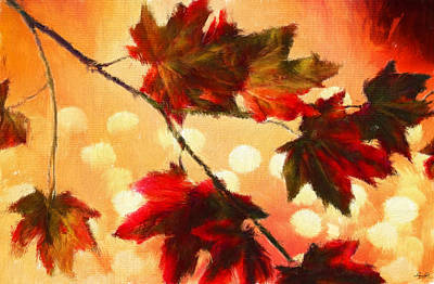 Maple Leaf Art Digital Art - Autumn Branch by Lourry Legarde