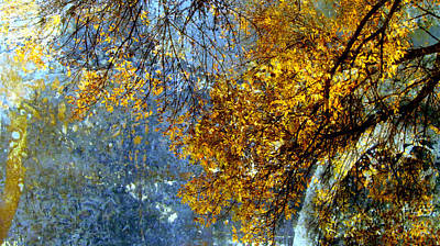 Thomas Kinkade Royalty Free Images - Autumn Branches wide and Abstract Painting Royalty-Free Image by Anita Burgermeister