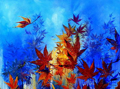 Maple Leaf Art Painting - Autumn Breeze by Hanne Lore Koehler