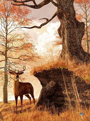 Autumn Buck Art Print by Daniel Eskridge