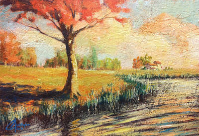 Clarks Hill Lake Painting - Autumn By The Lake II by Christopher Clark