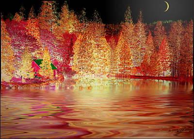 Friendly Digital Art - Autumn Cabin On The Lake by Joyce Dickens