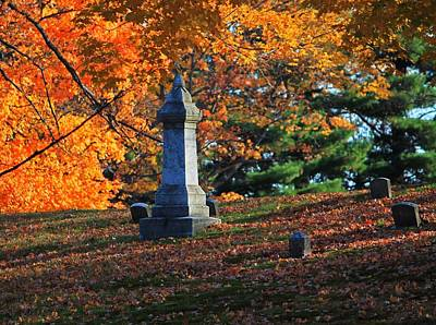 Photograph - Autumn Cemetery Visit by Michael Saunders