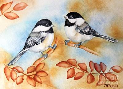 Painting - Autumn Chickadees by Inese Poga