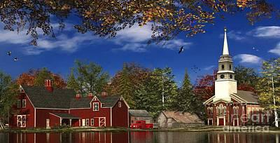 Lakes Digital Art - Autumn Church Row by Dominic Davison