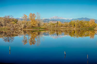 Photograph - Autumn Colorado Twin Peaks Golden Ponds Reflections by James BO  Insogna