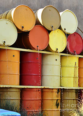 Photograph - Autumn Colored Water Barrels by MaryJane Armstrong