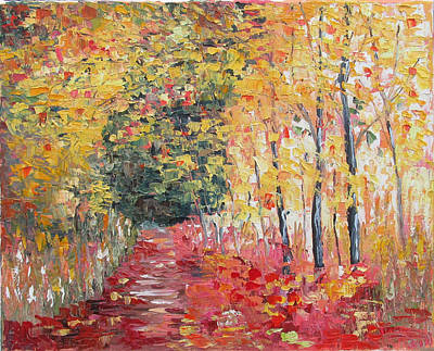 Four Seasons Tree Nature Summer Painting - Autumn Colors by Elena Nayman