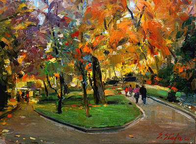 Painting - Autumn Colors - Lugano by Sefedin Stafa