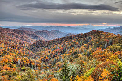 Photograph - Autumn Colors On The Blue Ridge Parkway At Sunset by Pierre Leclerc Photography