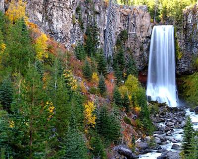Print featuring the photograph Autumn Colors Surround Tumalo Falls by Kevin Desrosiers