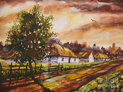 Autumn Cottages Art Print