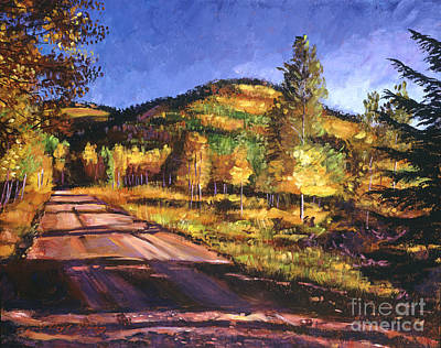 Plein Air Painting - Autumn Country Road by David Lloyd Glover
