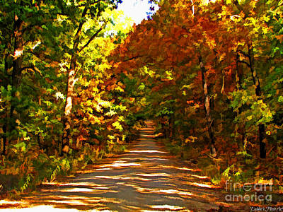 Photograph - Autumn Country Road - Digital Paint by Debbie Portwood