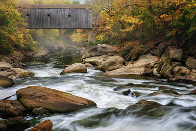 Photograph - Autumn Covered Bridge by Bill Wakeley