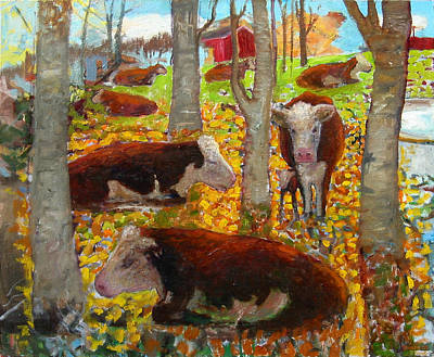 Autumn Cows Art Print