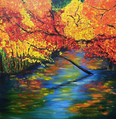 Painting - Autumn Crossing The River by Vikki Angel