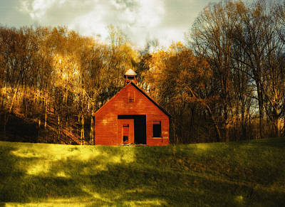 Autumn Day On School House Hill Art Print