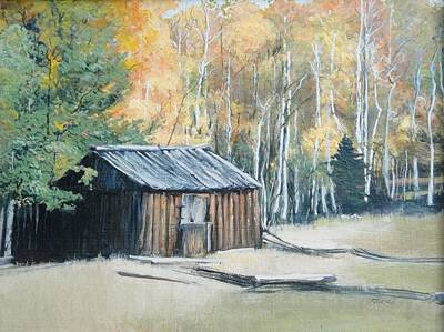 Painting - Autumn Descends On The Old Logger's Cabin by Terri Ana Stokes